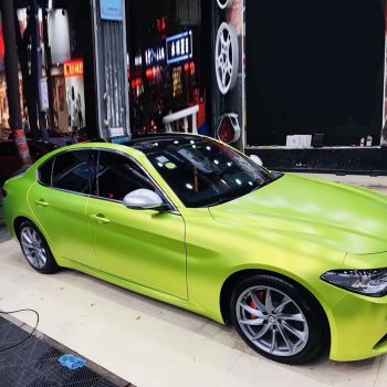 matte metallic vinyl wrap lemon green