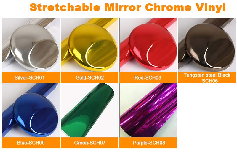 stretchable mirror chrome vinyl